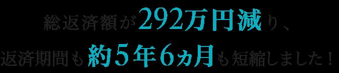 総返済額が292万円減り、返済期間も約5年6ヵ月も短縮しました!